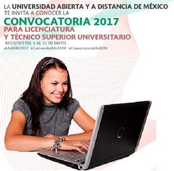Convocatoria 2017 de la Universidad Abierta y a Distancia de México
