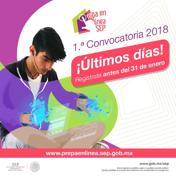 1ª.  Convocatoria 2018 del Programa Prepa en Línea – SEP