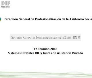 1ª Reunión Regional DNIAS 2018 con los Sistemas Estatales DIF y Juntas de Asistencia Privada