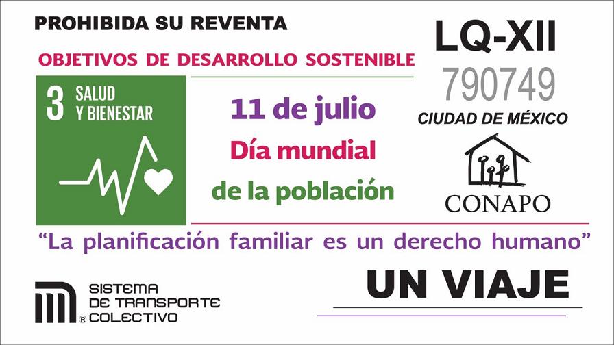 El Sistema de Transporte Colectivo Metro y el Consejo Nacional de Población develaron el boleto conmemorativo por el Día Mundial de la Población