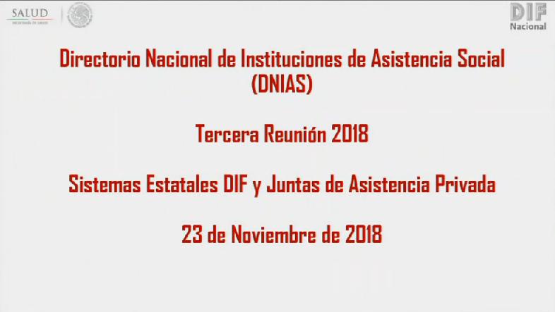 Tercera Reunión del Directorio Nacional de Instituciones de Asistencia Social